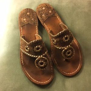 Jack Rogers Leather cork sandals gold size 7m gold